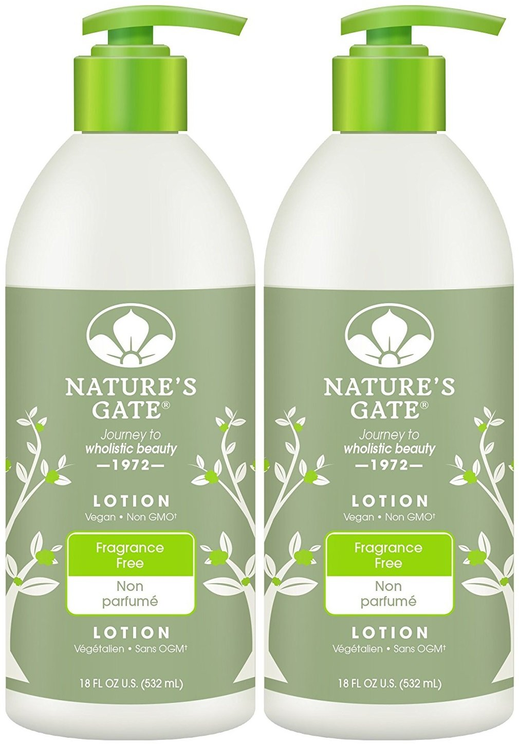 Nature's Gate Fragrance-Free Moisturizing Lotion for Sensitive Skin, 18-Ounce Pumps (Pack of 2)