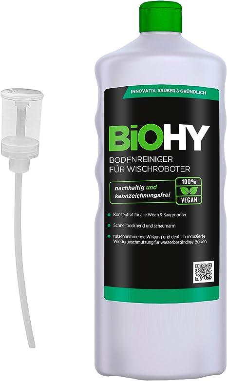 BiOHY Limpiador pisos para robots limpiadores (1 botella de 1 litro) + Dosificador | Concentrado para todos robot aspirador con función húmeda - sostenible y ecológico (Reiniger für Wischroboter): Amazon.es: Salud y cuidado personal