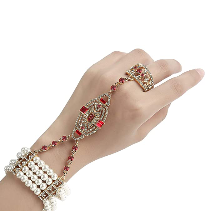 Vintage Style Jewelry, Retro Jewelry Metme 1920s Gatsby Accessories Imitation Pearls Rhinestone Bracelet Adjustable Ring Set $14.99 AT vintagedancer.com