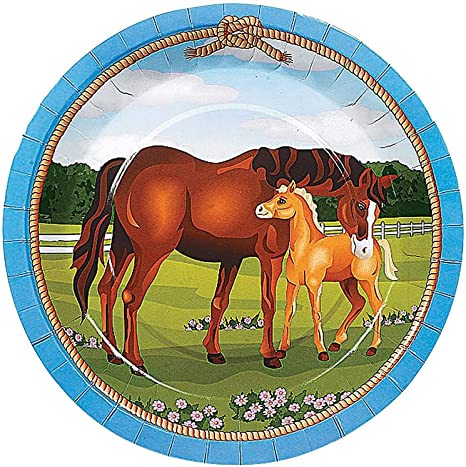 Amazon.com: 8 Large Mare and Foal Horse Paper Party Plates | Horse ...