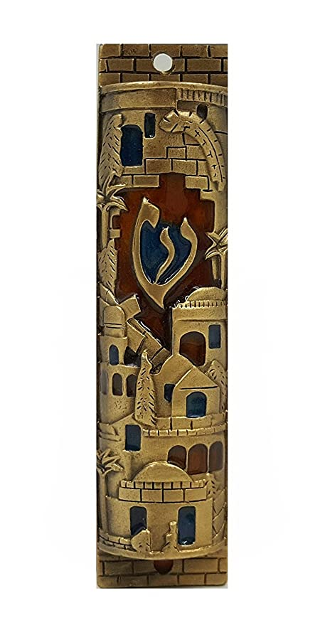Gold Enamel Jewish MEZUZAH CASE with Scroll Jerusalem Israel Judaica Door Mezuza 4u0026quot;  sc 1 st  Amazon.com & Amazon.com: Gold Enamel Jewish MEZUZAH CASE with Scroll Jerusalem ...