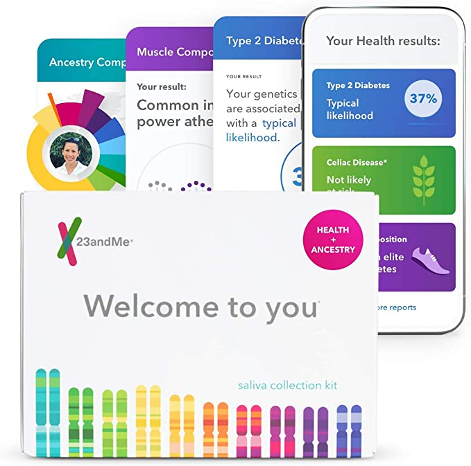 Amazon.com: 23andMe Health + Ancestry Service: Personal Genetic DNA Test Including Health Predispositions, Carrier Status, Wellness, and Trait Reports (Before You Buy See Important Test Info Below): 23andMe: Health & Personal Care