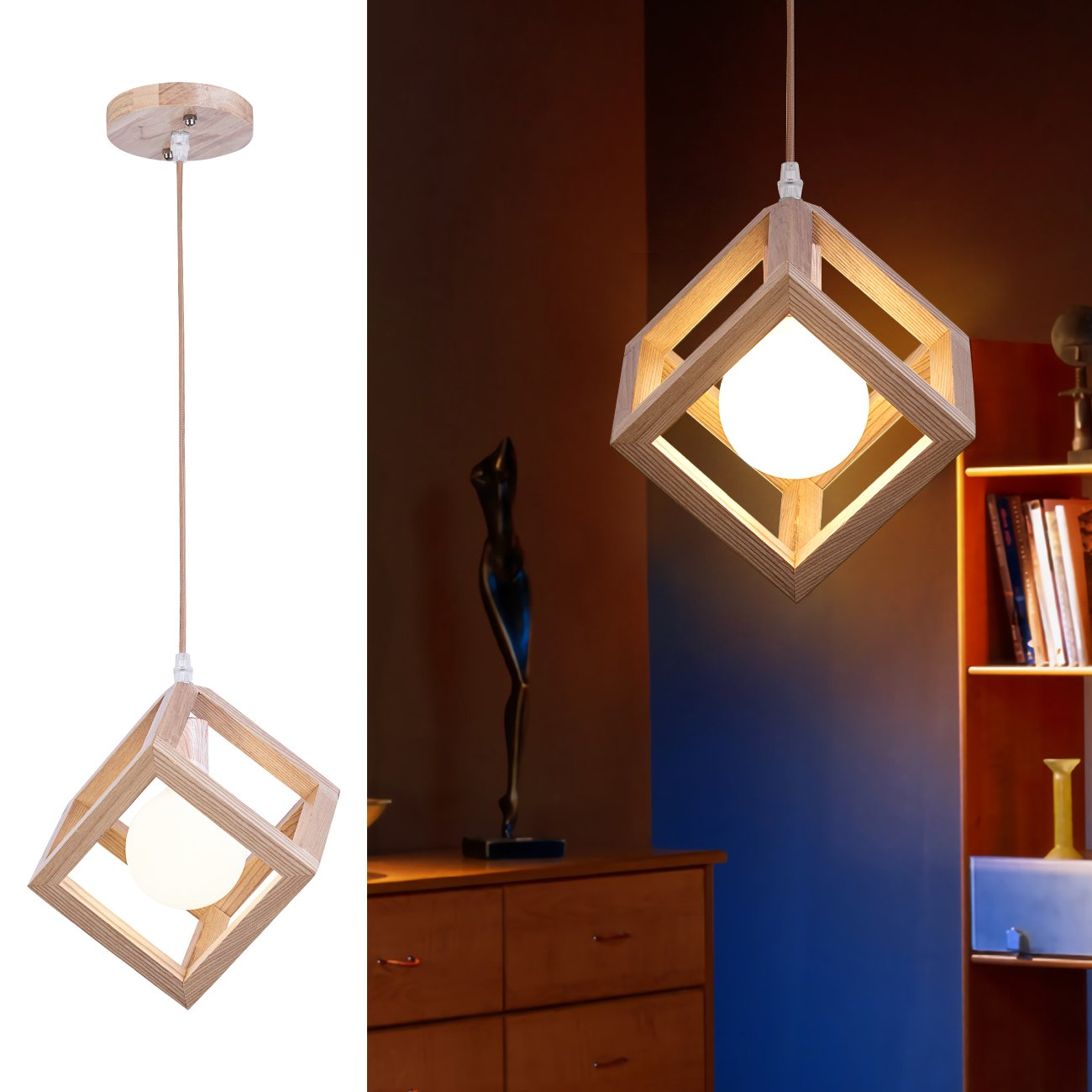mingdaxin Woodiness Pendant Light,Contemporary DIY Hanging Lamp Hangs Illume,Adjust Suspension Height Ceiling Light, Apply To Bedroom, Dining-Room, Sitting Room And Kitchen
