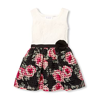 c06a249cf4 Amazon.com  The Children s Place Baby Girls Flower Lace Sleeveless ...