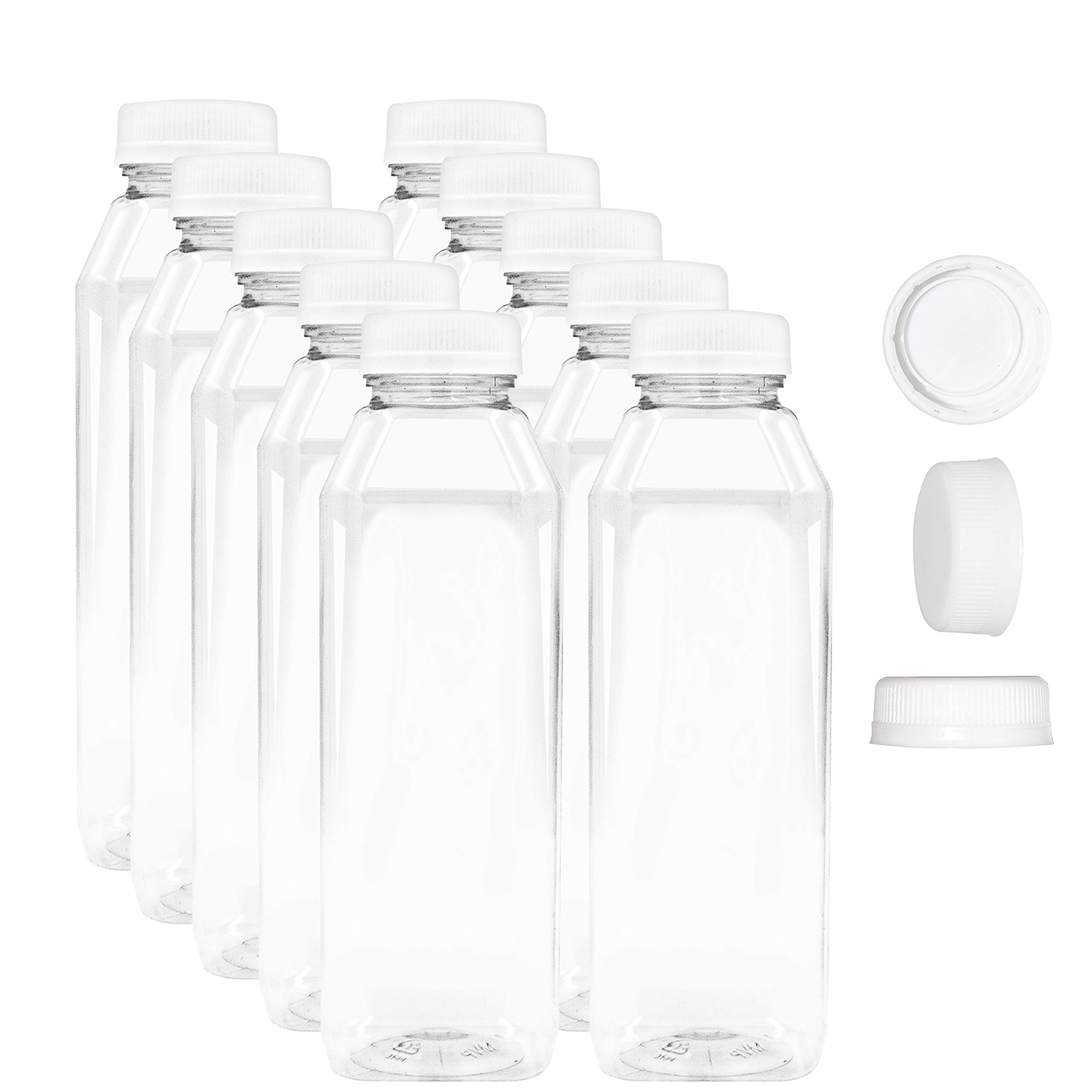 16 oz Empty Juice Bottles - Set of 10 Reusable Clear Plastic Disposable Milk Containers with White Tamper Evantend Caps