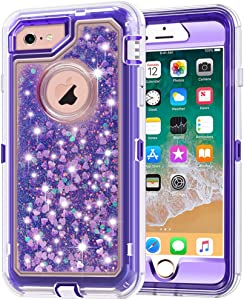 iPhone 6S Plus Case, iPhone 6 Plus Case, Anuck 3 in 1 Hybrid Heavy Duty Defender Case Sparkly Floating Liquid Glitter Protective Hard Shell Shockproof TPU Cover for iPhone 6 Plus/6S Plus - Purple
