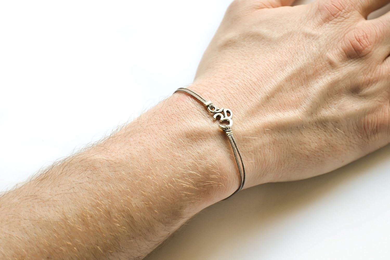 OM bracelet, men's bracelet with Tibetan silver Om charm, Hindu, gray cord, bracelet for men, gift for him, yoga bracelet, for boyfriend