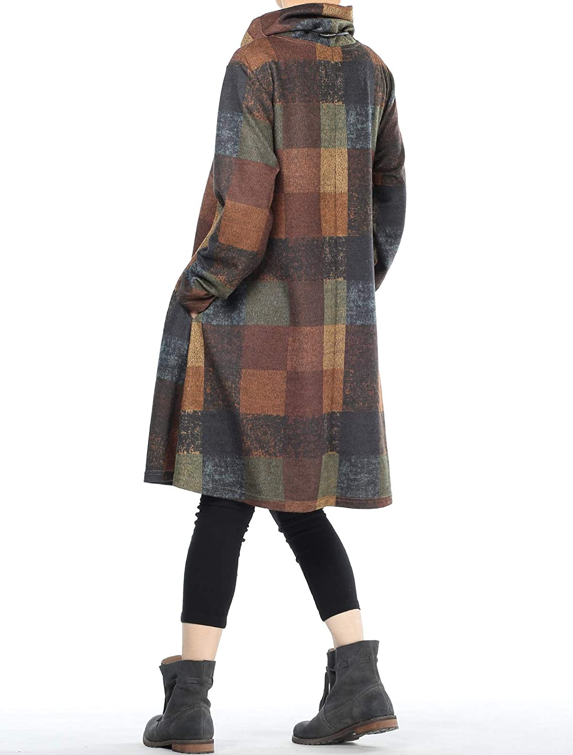 Mordenmiss Womens Checked Plaid Tunic Tops Turtleneck Shirt Dress with Pockets