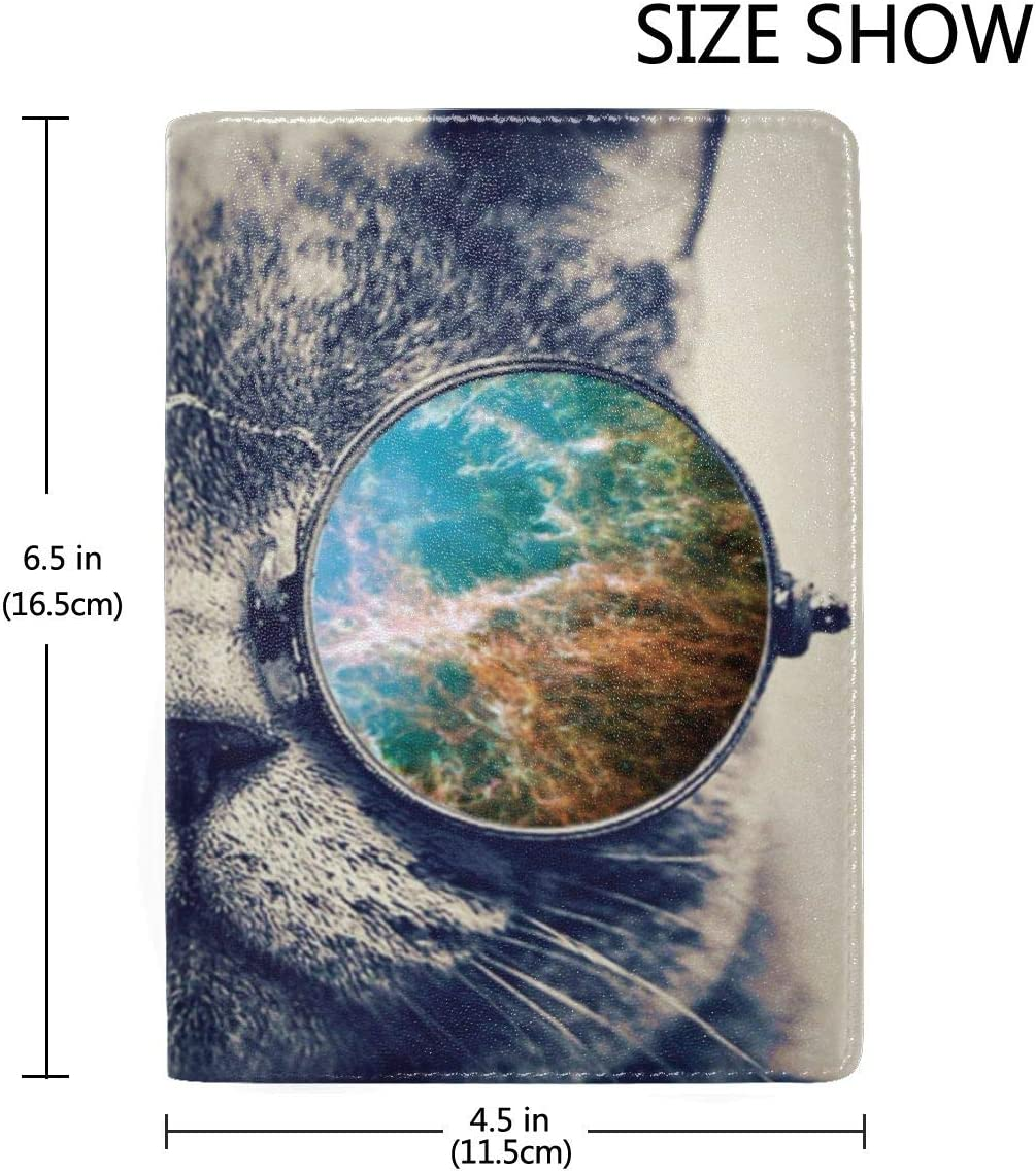Cashmere Cat Sunglasses Fashion Leather Passport Holder Cover Case Travel Wallet 6.5 In