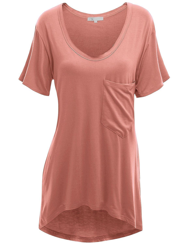 Doublju Womens Short Sleeve Deep V-Neck Oversized T-Shirt Dress With Chest Pocket