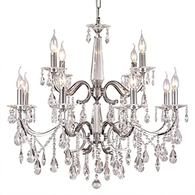 DINGGU Luxury Chrome Finish Modern 12 Lights Dia 27.6 Inch Crystal Chandelier Lighing Pendant Lamp Fixtures for Living Room