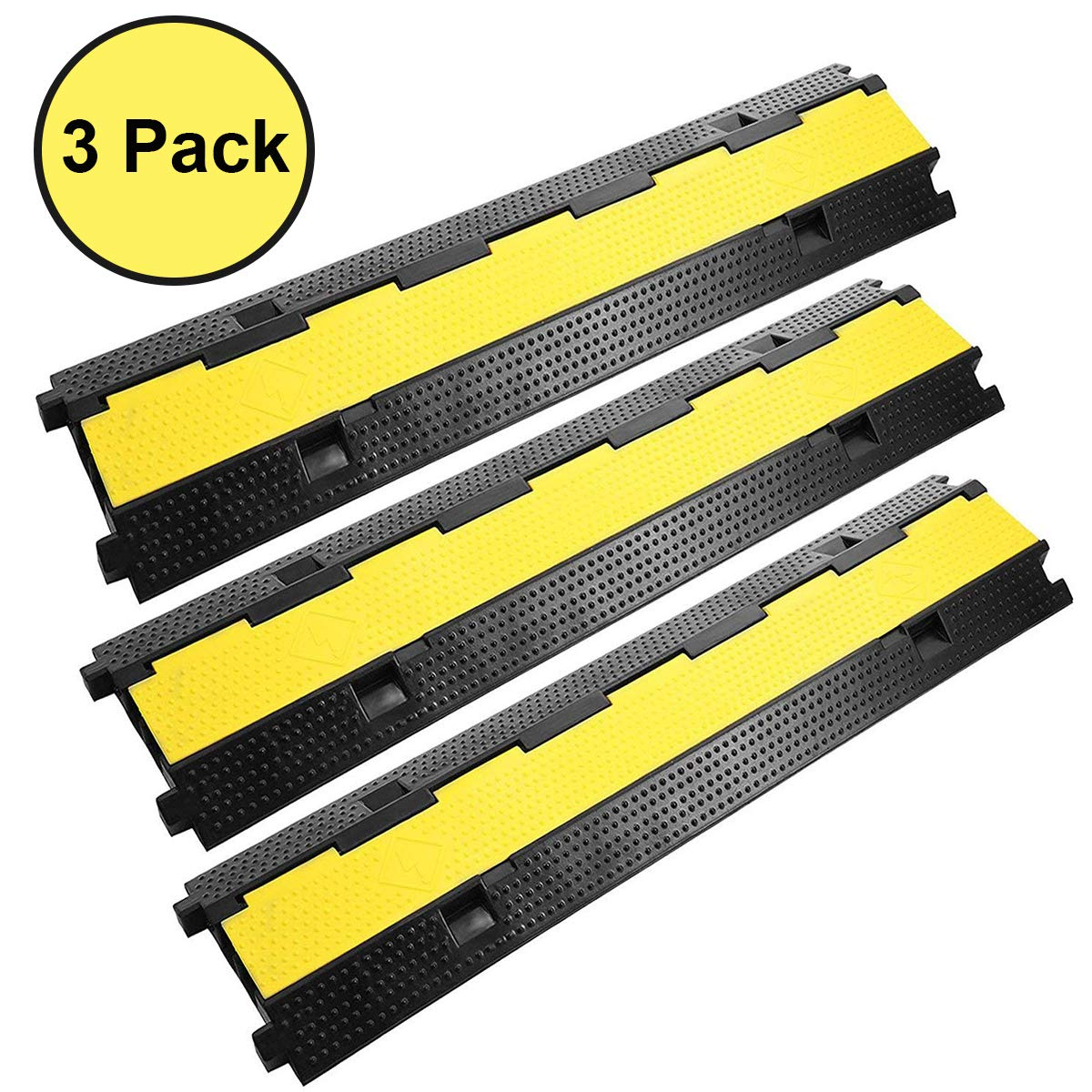Reliancer 3 Pack Dual Channel Rubber Cable Protector Ramp 2 Channel Traffic Speed Bump 11000lbs Capacity Heavy Duty Hose Cable Track Protector Protective Cover Wires Concealer w/Flip-open Top Cover by Reliancer (Image #1)