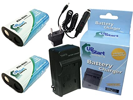 2x Pack - Kodak Easyshare Z1485 IS Battery + Charger with Car & EU Adapters  - Replacement for Kodak KLIC-8000 Digital Camera Battery and Charger
