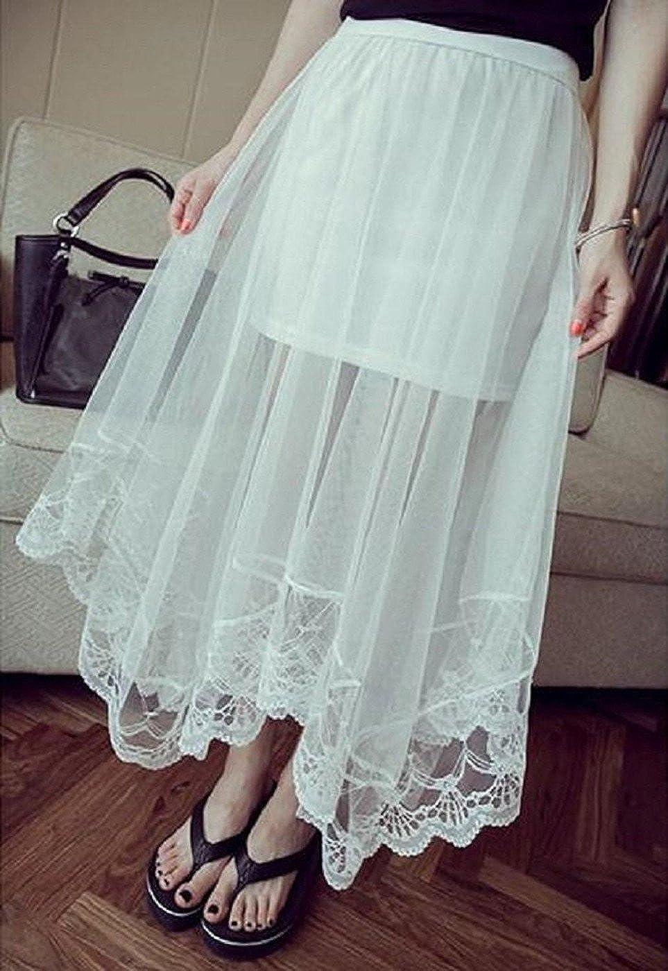 白チュールロングスカート