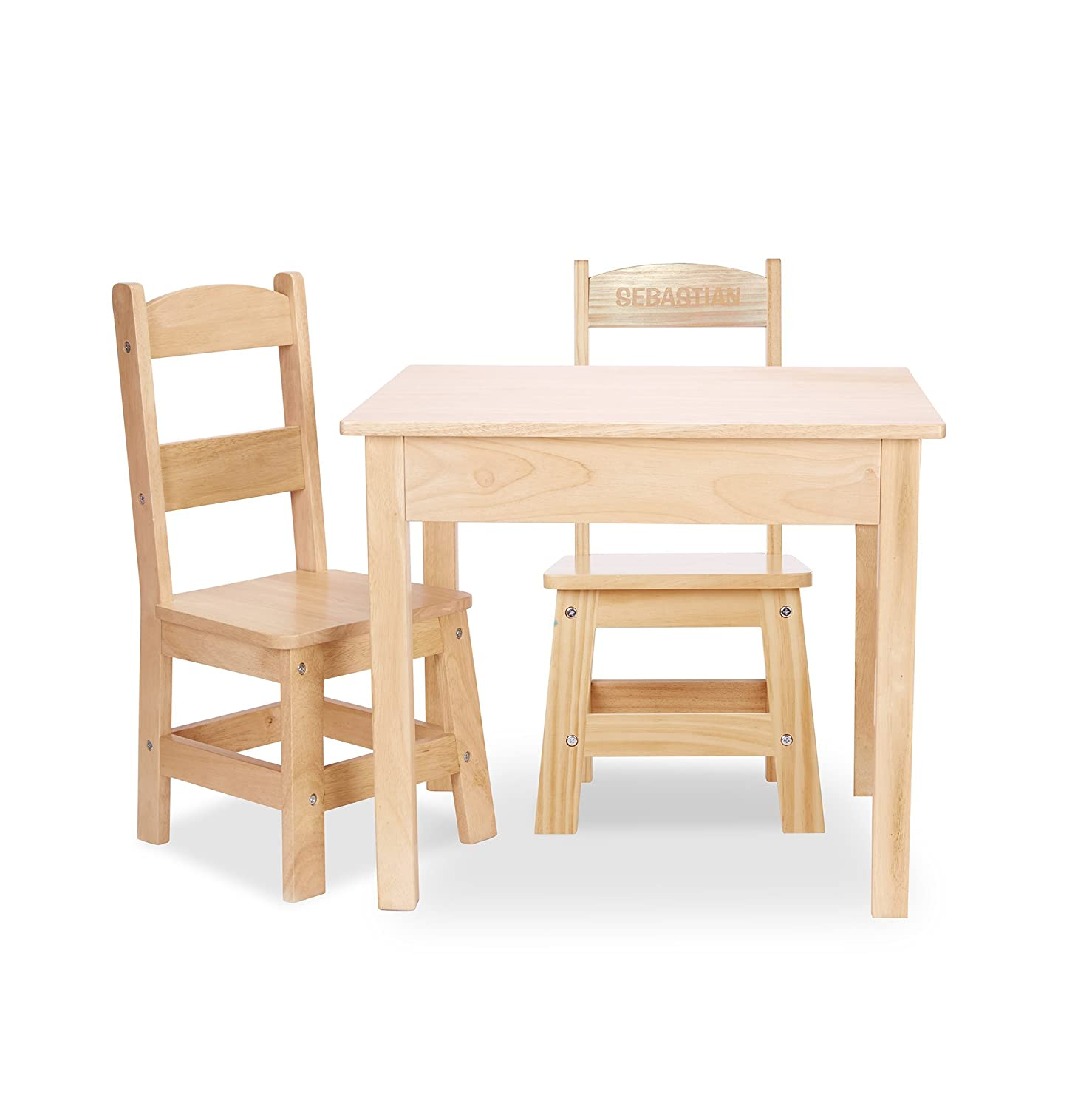Melissa & Doug Solid Wood Table and 2 Chairs Set - Light Finish Furniture for Playroom 2427
