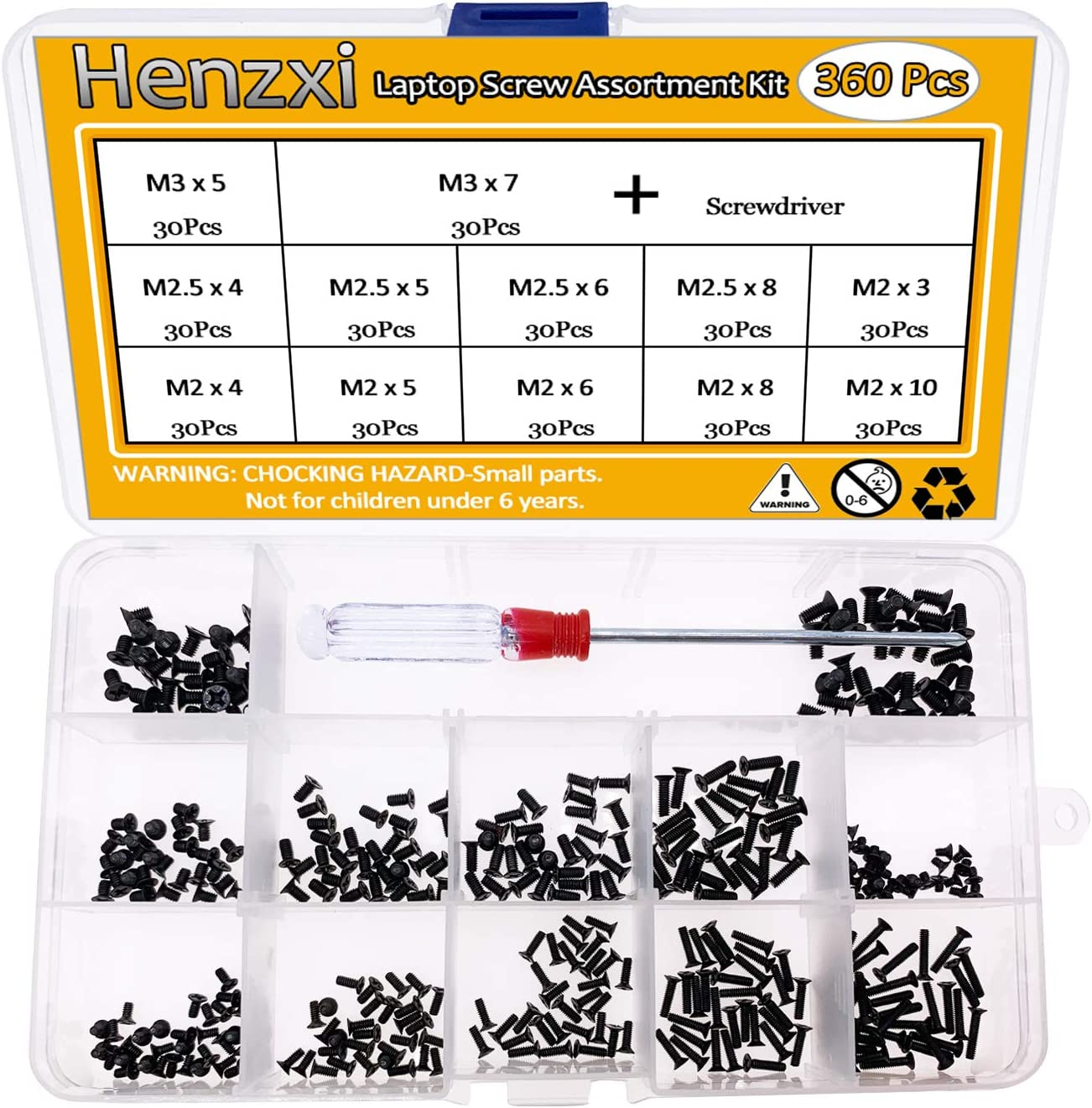 Henzxi 360pcs Laptop Notebook Computer Screw Kit for IBM HP Dell Lenovo Samsung Sony Toshiba Gateway Acer etc (Screwdriver Includes)