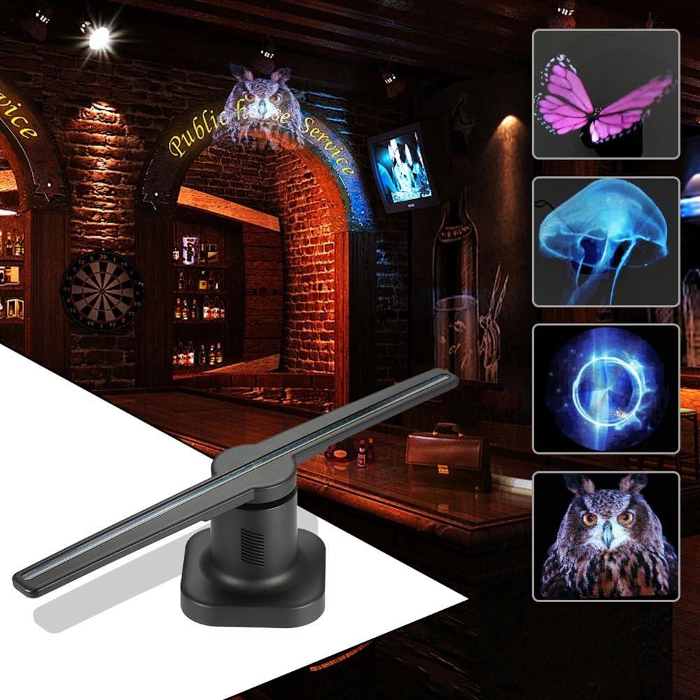DNXL Proyectores de Holograma Ventiladores 3D Proyector LED Imágenes de suspensión de Aire Giratorio para Restaurante/Centro Comercial/Tienda Sala de exposiciones (Negro): Amazon.es: Hogar