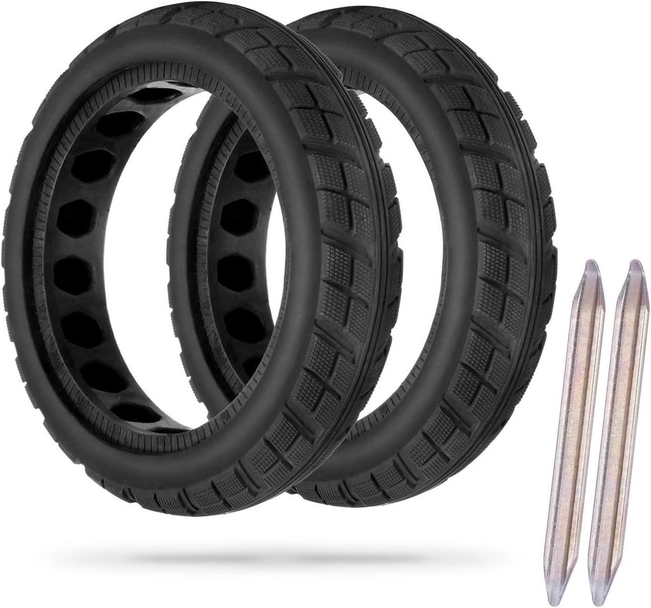 AGPTEK 2 Pcs Llanta Libre Reemplazo Neumático, Rueda Macizas para Scooter Eléctrico Xiaomi M365 con 2 Palo de Neumático, Neumáticos sin Inflación, Negro