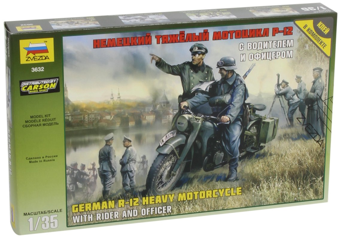 ZVEZDA 3632 - German R-12 Heavy Motorcycle - Plastic Soldiers Kit - Scale 1:35 119 pcs 2.5''