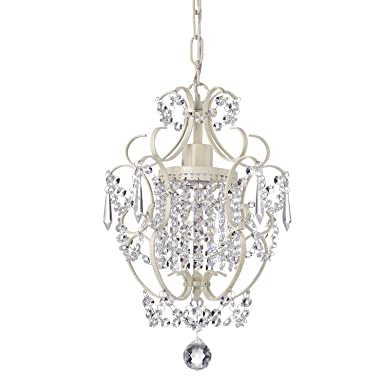 Edvivi Amorette 1-Light Amorette Ivory Finish Mini Crystal Chandelier Wrought Iron Ceiling Light Fixture Glam Lighting