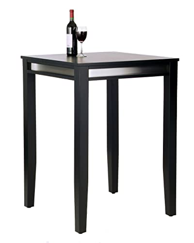 Home Styles Manhattan Black Satin Finish Pub Table Solid Wood Construction with Stainless Steel Finished Trim