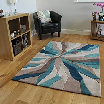 The Rug House Tapis Contemporain Bleu Turquoise Taupe Motif Vagues ...