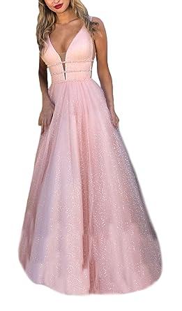 89b06b768 Vestidos De Fiesta para Bodas Mujer Largo Elegante Chiffon Sin Mangas V  Cuello Ceremonia Vestido De