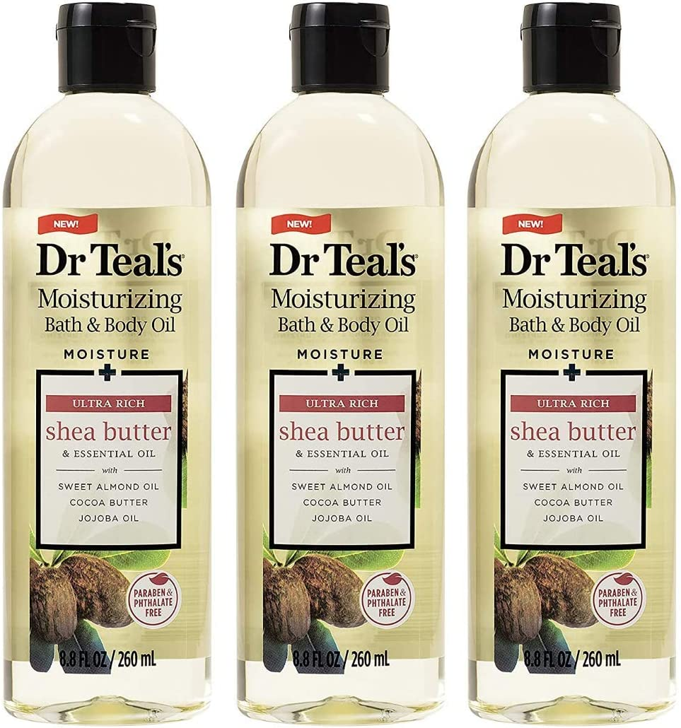 Dr. Teal's Moisture + Ultra Rich Shea Butter & Essential Oil Moisturizing Bath & Body Oil 8.8oz Pack of 3: Health & Personal Care