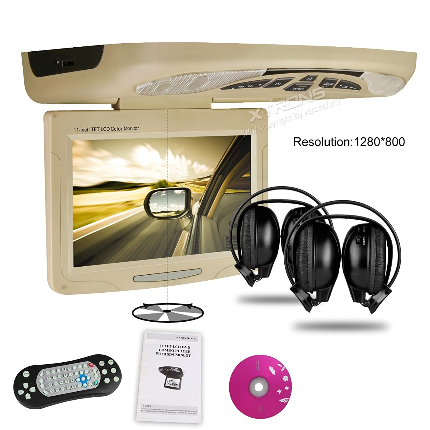 Xtrons 11 overhead car dvd player roof flip down with amazon co uk electronics