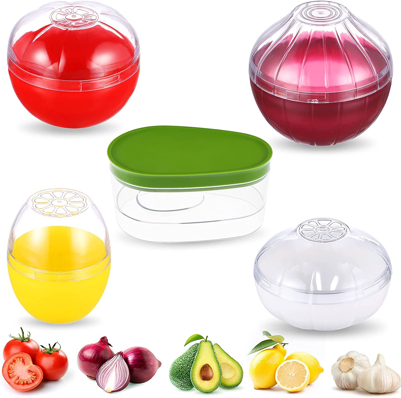5 Pcs Food Savers Fruit Vegetable Shaped Food Savers Storage Box Onion Tomato Lemon Garlic Avocado Keeper/Saver/Holder Reusable Plastic Refrigerator Box Fresh Storage Bowls for Food Stays Fresh Longer
