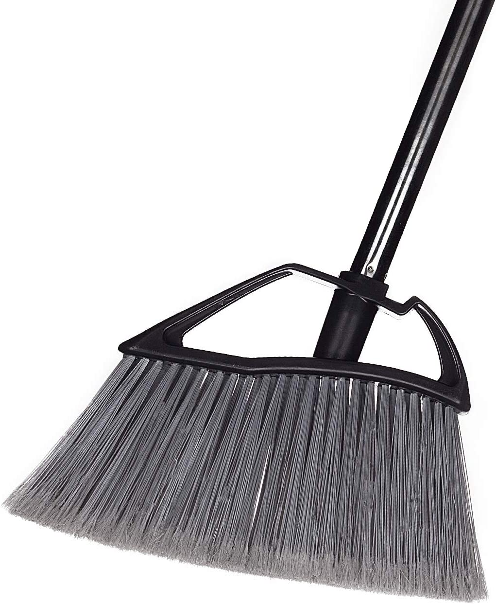 """Jiaxin Angle Broom with 43"""" Adjustable Long Handle, Easy Assembly Indoor Broom for Home Office Sweeping, 1 Pack, Black"""