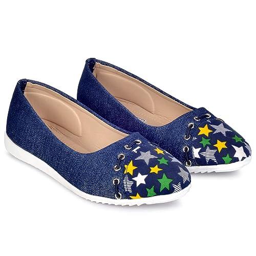 118243e56260 PIPILIKA Belly Flat  004 Blue Star Print Ballerinas Shoes of Denim Jeans  for Girls