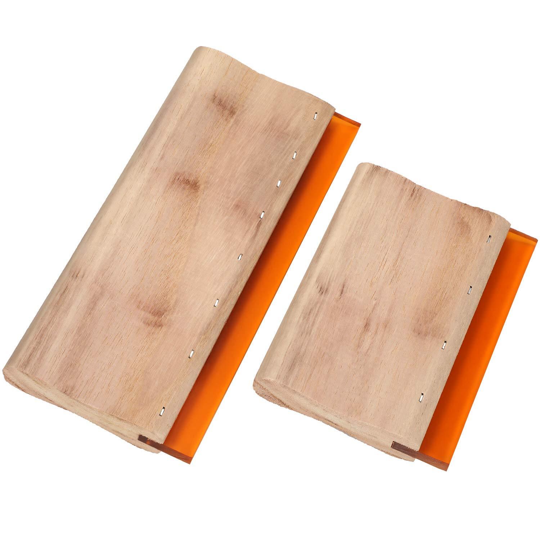 2 Piezas de Raspadores de Tinta de Goma Rasqueta de Madera Raspador de Pantalla para Fabricaci/ón de Serigraf/ía