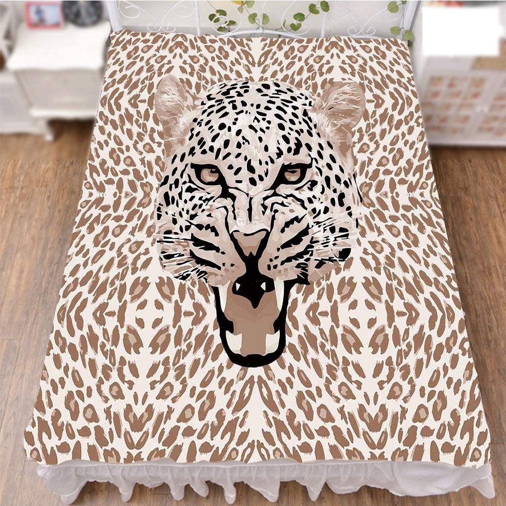 iPrint Bedding Bed Ruffle Skirt 3D Print,with Rosettes Wild African Animal Big Cat,Best Modern Style Bed Skirt for Men and Women by 70.9''x78.7''