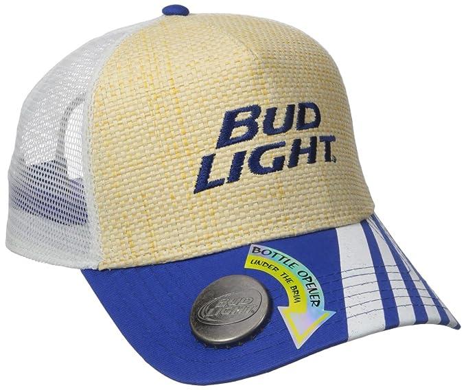 Budweiser Men s Bud Light Adjustable Straw Baseball Cap with Bottle Opener 57b73541a912