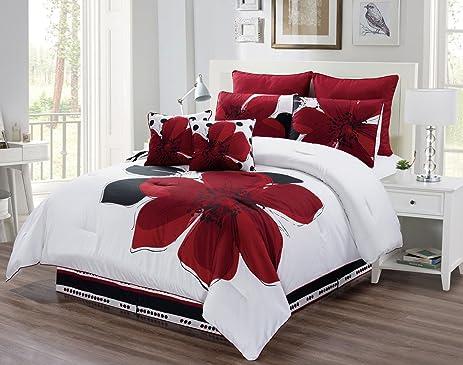 6 Piece   Burgundy Red, Black, White, Grey Oversize Comforter Set Floral  Fine