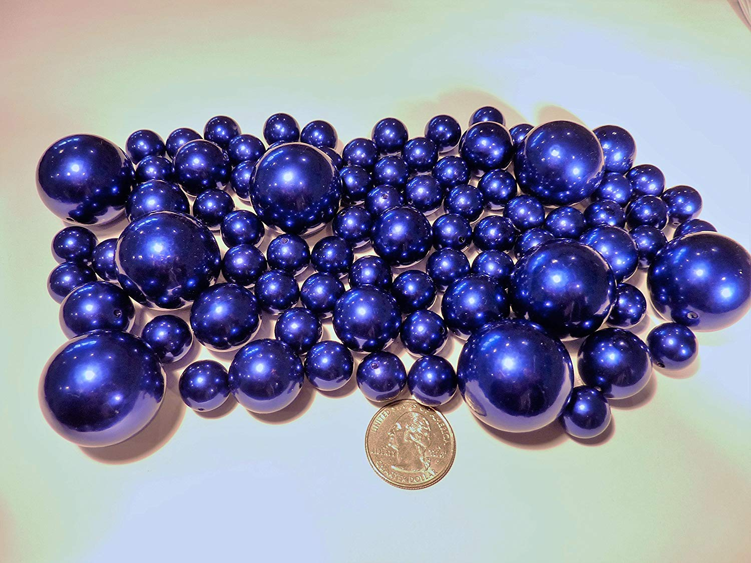 80 Royal Blue/Navy Pearls - Jumbo and Assorted Sizes Vase Fillers for Decorating Centerpieces - to Float The Pearls Order with Transparent Water Gels