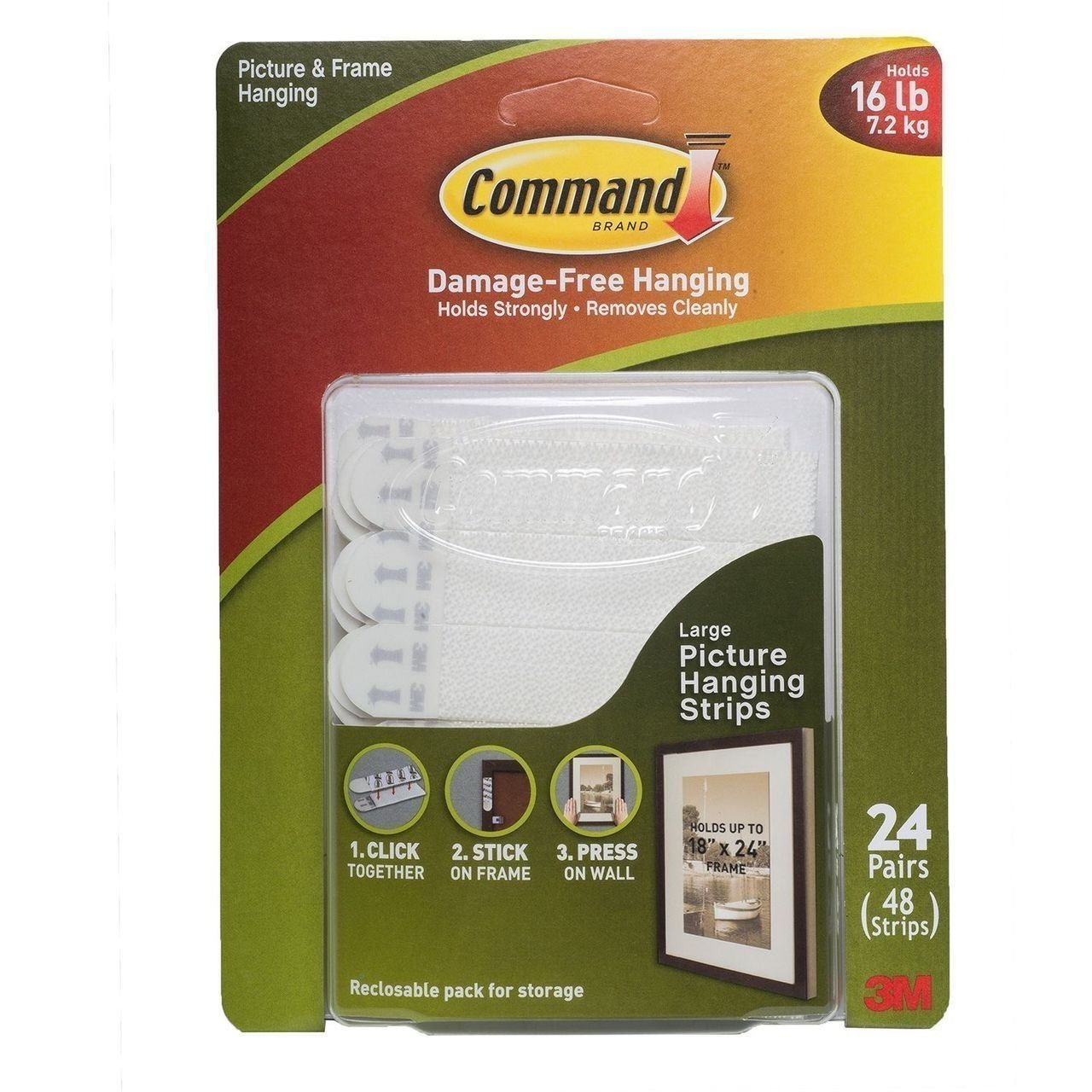 Amazoncom 3m 17206 Command Large Picture Hanging Strips 16 Lb 48
