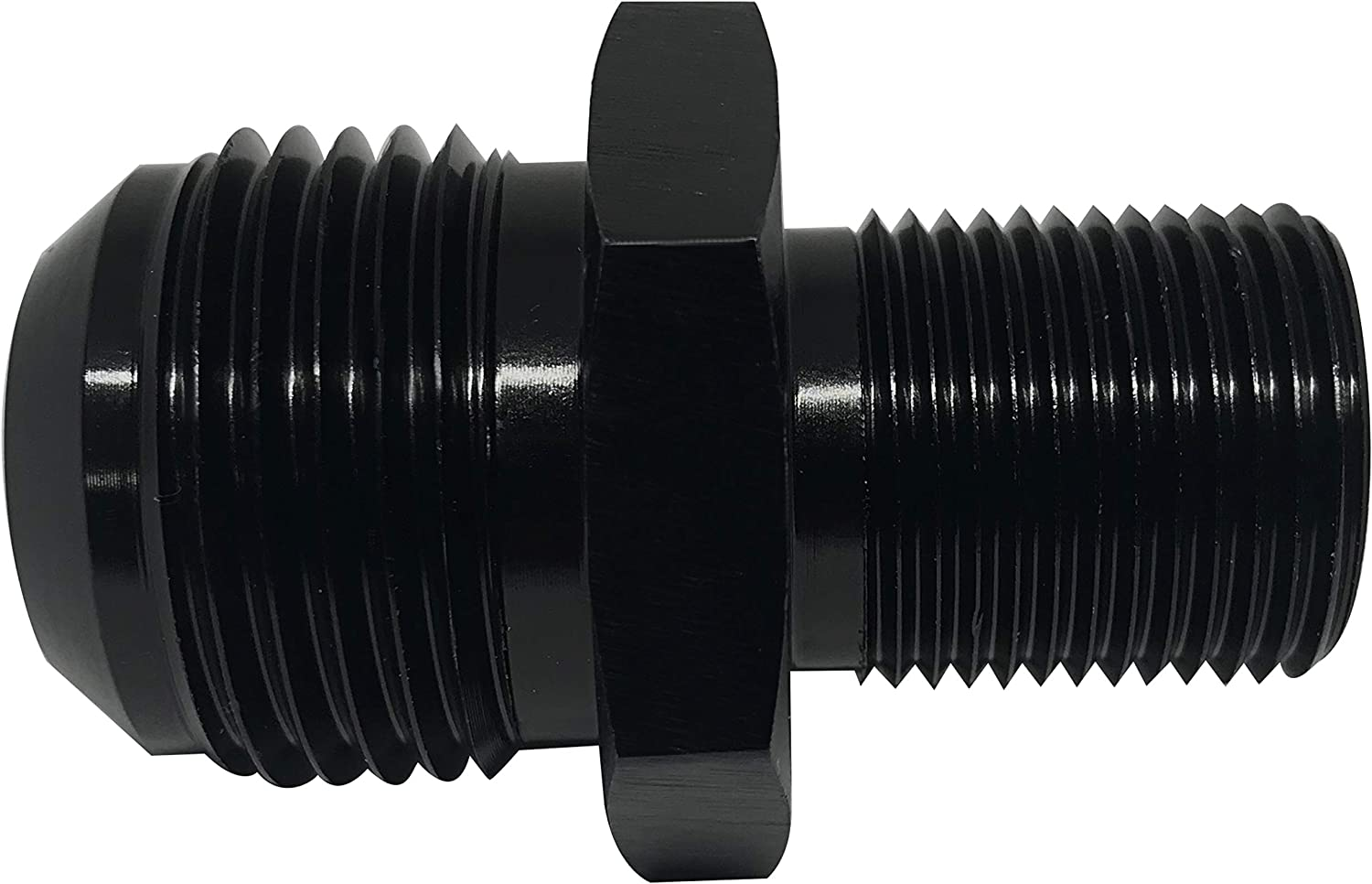 M14x1.5 to 6AN Flare Male Pipe Fitting Aluminum Fuel Line Hose Adapter Black Anodized