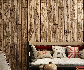 H&M Papel pintado PVC retro estilo 3D imitación madera textura papel pintado decoración salón restaurante TV