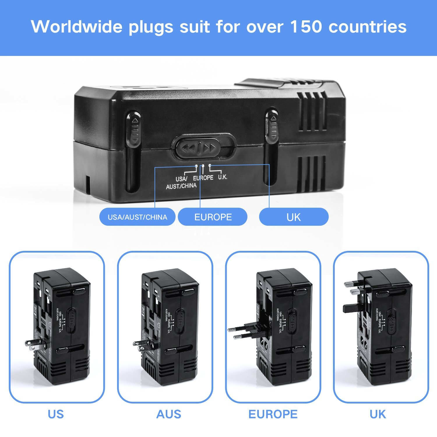 DOACE 1875W Travel Power Converter and Adapter Combo, Step Down Voltage Transformer 220V to 110V for Hair Dryers, International EU/UK/AU/US Wall Charger Plugs for 150 Countries (1875W) (1875W) by DOACE (Image #4)