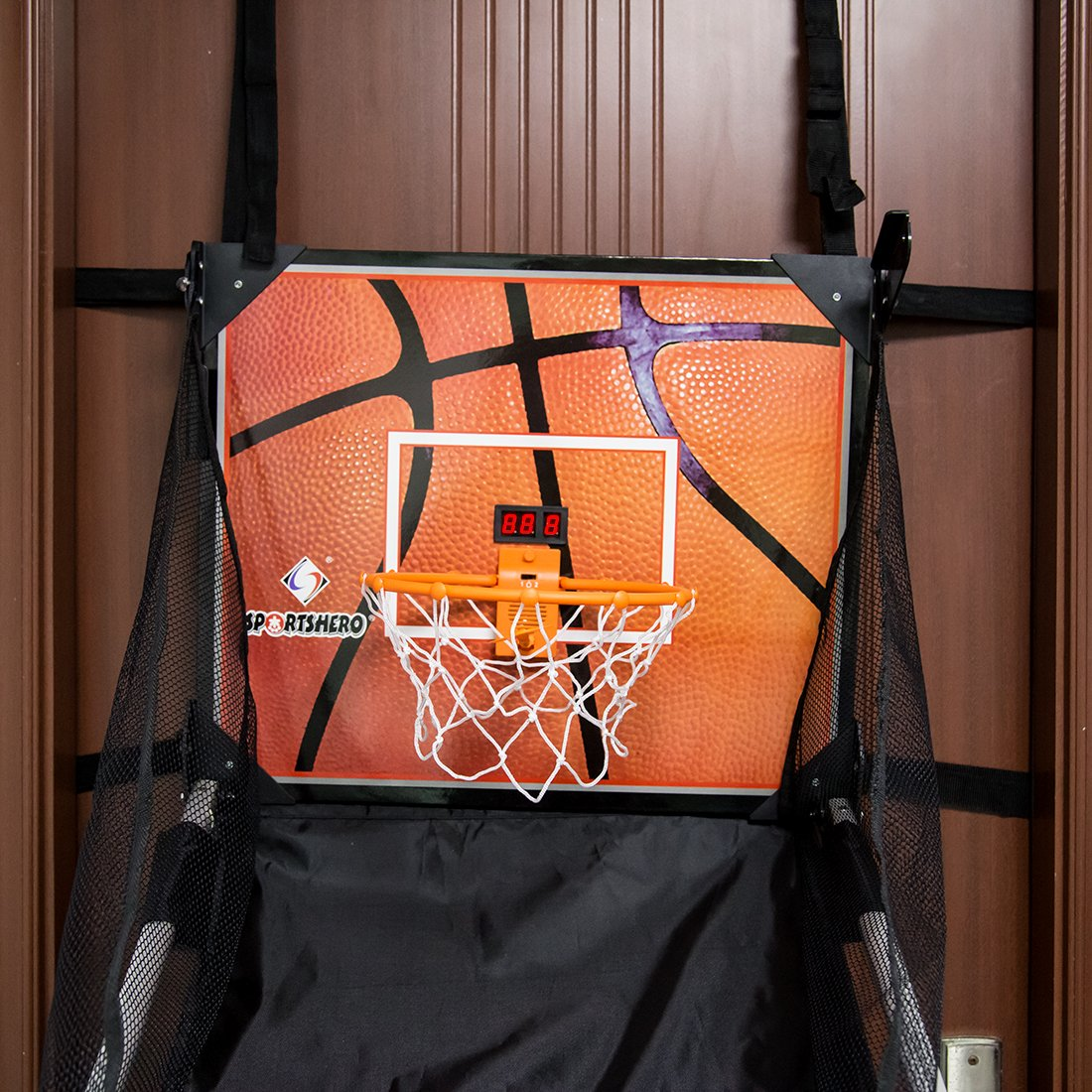 Basketball Shooting Machine PINCHUANGHUI Door Hanging Automatic Scoring Basketball Shooting Machine Foldable Shooting Hoop - Main Black by PINCHUANGHUI (Image #5)
