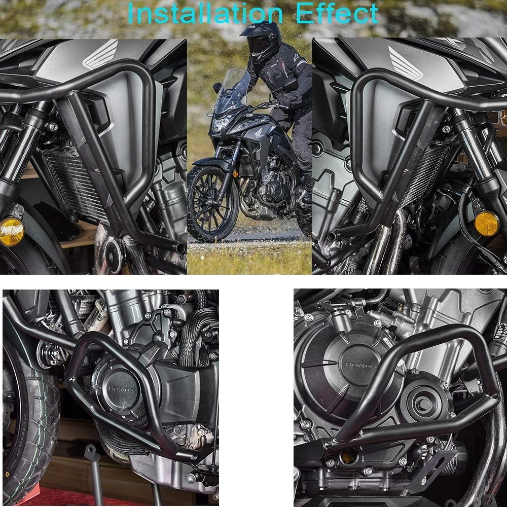LoraBaber Moto noir moteur garde Crash Bar car/énage cadre cadre sup/érieur inf/érieur pour H-o-n-d-a CB500X CB 500 X CB 500X 2019 Plus haut