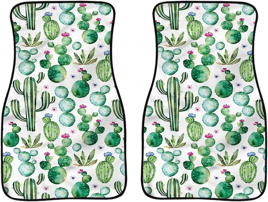 FUIBENG 2 Pcs Cartoon Cactus Grren Car Floor Mats Durable Anti Slip Dirty Resistant Auto Foot Carpet Universal Automotive Interior Decor Accessory,for Women Girls