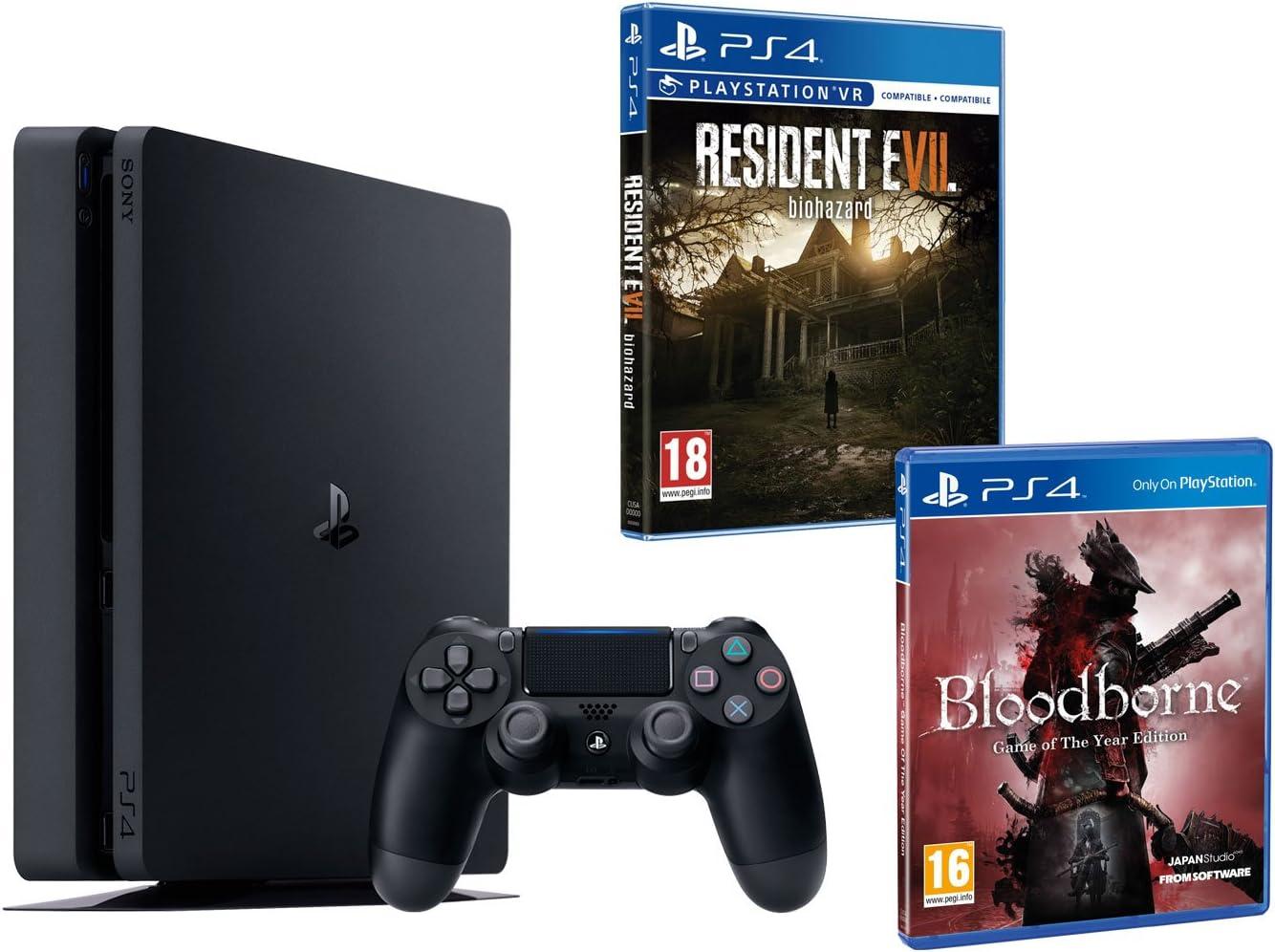 PS4 Slim 1TO Negro Playstation 4 Pack 2 Juegos – Bloodborne GOTY + Resident Evil VII: Amazon.es: Informática