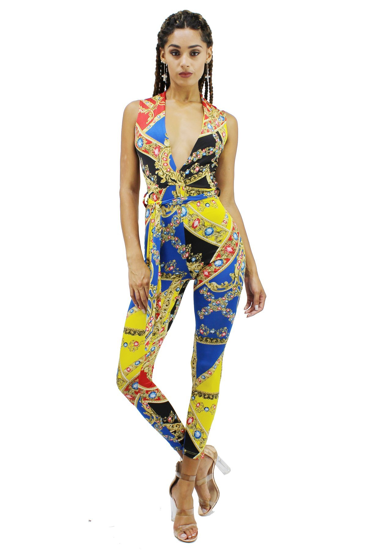 edgelook Baroque Jewelries Plunging V-Neck Sleeveless Skinny Catsuit Jumpsuit