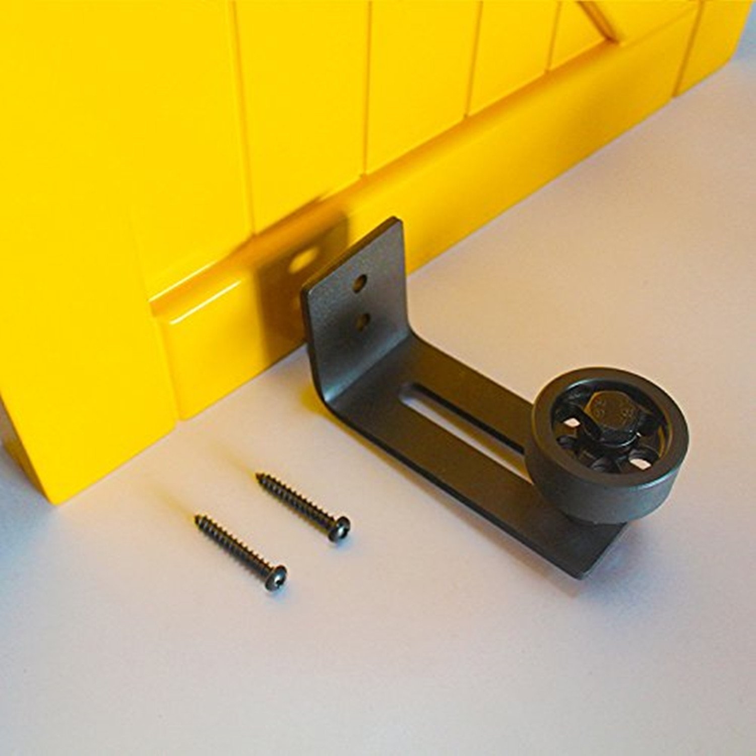 VANCLEEF Adjustable Single Wheel Floor Guide, Used for Sliding Barn Door, Wall Mounted, Made of Black Carbon Steel, Ensures Quiet and Smooth Sliding. by Vancleef Hardware (Image #2)