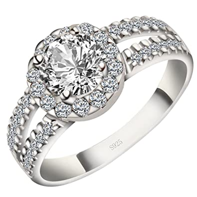 Meyiert Women Stylish S925 Sterling Silver Round Zircon Cut CZ Anniversary Engagement Wedding Rings