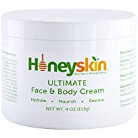 Face and Body Moisturizer Cream - Facial Skin Care - Dry Skin, Cracked Hands, Rosacea Eczema Psoriasis Rashes Itchiness Redness - With Natural Aloe and Manuka Honey - Anti Aging - Anti Wrinkle (4 oz)