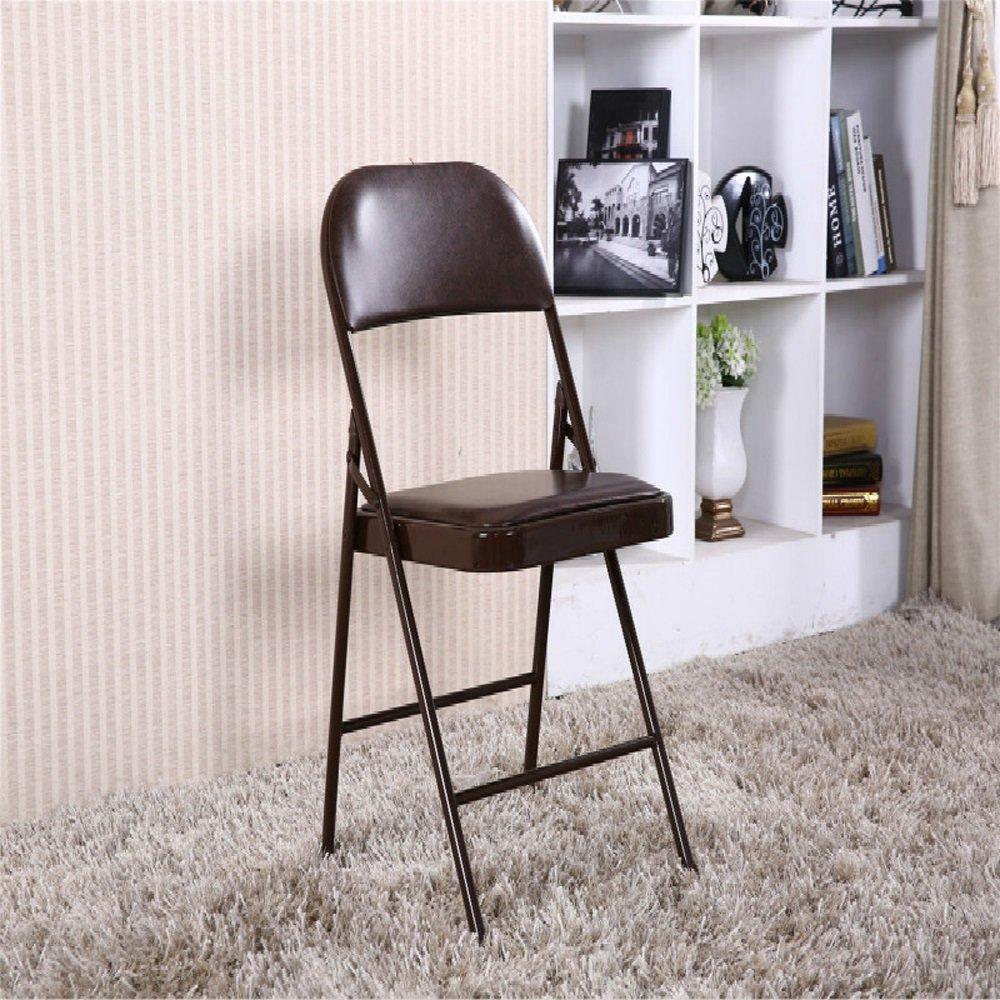 ベンチ 折り畳み式椅子背もたれレザースポンジで満たされた椅子、オフィストレーニング会議用家庭用ダイニングブックルーム (A++) (色 : Brown) B07F3JT118  Brown